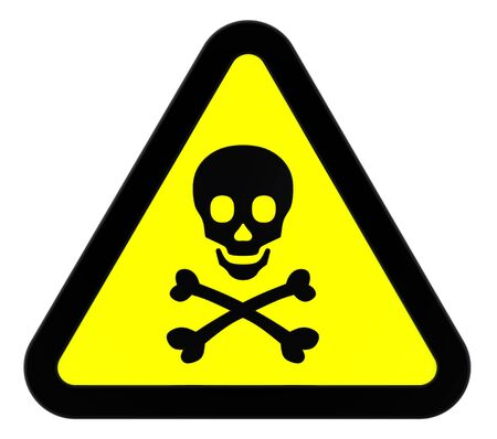 Warning sign with skull symbol isolated on white. Stock Photo - 9700503