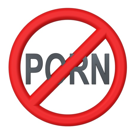 No porn warning sign. photo
