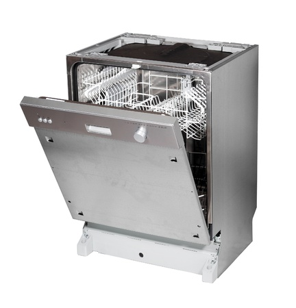 Modern built in dishwasher isolated on white photo