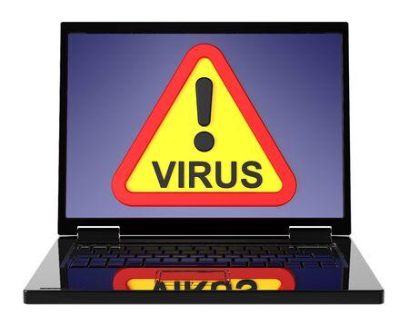 Virus warning sign on laptop screen. Stock Photo - 9822880