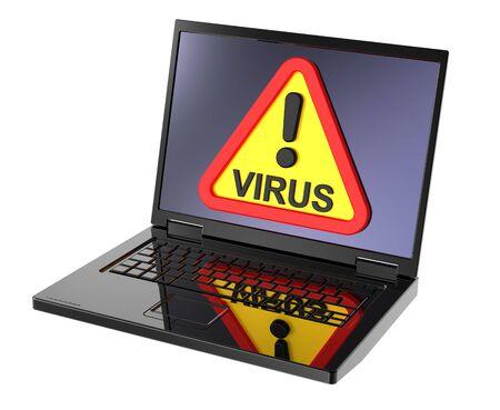 Alerte au virus signe sur l'écran de portable.