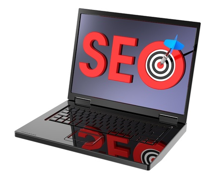 Dart and SEO target on laptop screen. Stock Photo - 9822875