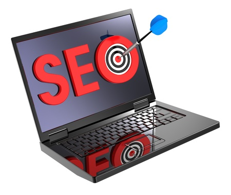 Dart and SEO target on laptop screen. Stock Photo - 9822877
