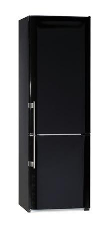 Two door shiny black refrigerator isolated on white photo