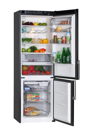 refrigerator with food: Two door black refrigerator isolated on white Stock Photo