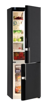 frig: Two door shiny black refrigerator isolated on white