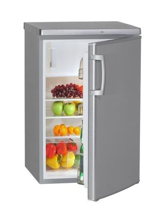 nevera: Refrigerador de acero inoxidable de una puerta aislado en blanco