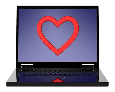 Laptop with heart on the screen isolated over white background photo