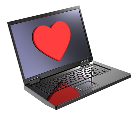 Laptop with heart on the screen isolated over white background. Computer generated 3D photorendering. photo