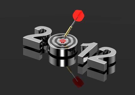 Dart auf Ziel - neues Jahr 2012, isoliert auf schwarz glänzend. Computergenerierte 3D Foto Rendering. Lizenzfreie Bilder