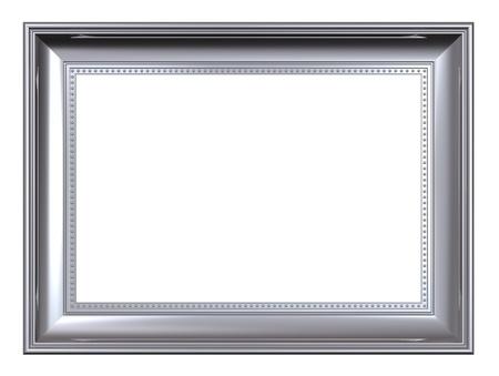 marcos decorados: Marco platino aislada sobre fondo blanco. Representaci�n 3D foto generados por ordenador.  Foto de archivo