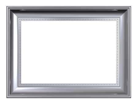 Platin Frame isolated on white Background. Computergenerierte 3D Foto Rendering.