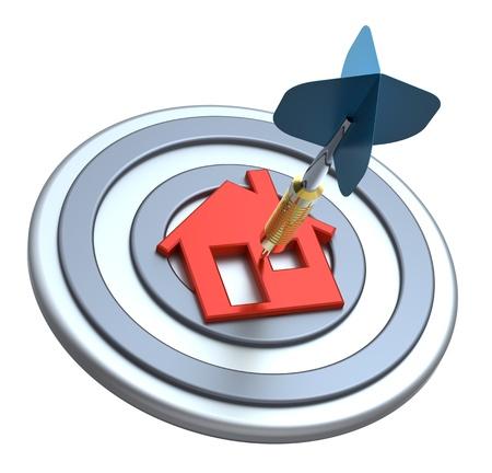 Dart auf Haus Ziel. Dart getroffen Zentrum von Haus-Symbol auf weißem Hintergrund. Computer generierte 3D-Foto-Rendering Lizenzfreie Bilder