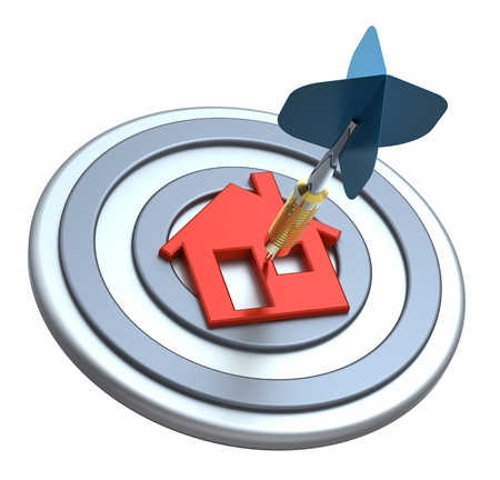 Dart on house target. Dart hit the center of house icon isolated on white background. Computer generated 3D photo rendering