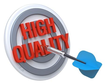 Blue Dart auf einem Ziel mit Text darauf. Das Konzept der Qualitätskontrolle. Computer generierte 3D-Foto-Rendering.