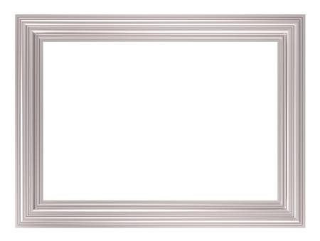 marcos decorados: Marco plata aislada sobre fondo blanco. Procesamiento de fotos 3D generados por ordenador. Foto de archivo