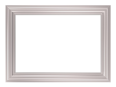 Silver frame isolated on white background. Computer generated 3D photo rendering.