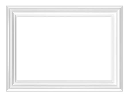 marcos decorados: Marco blanco aislada sobre fondo blanco. Representaci�n 3D foto generados por ordenador.