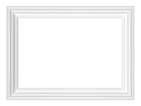 White frame isolated on white background. Computer generated 3D photo rendering.