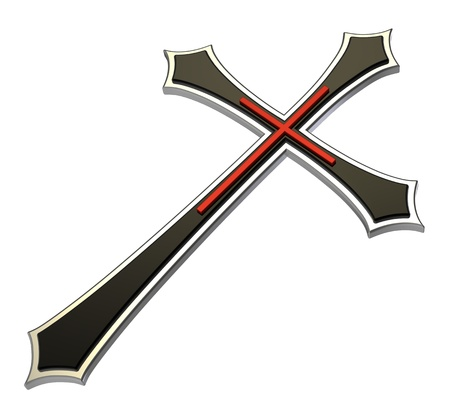 Christian cross isolated on white. Computer generated 3D photo rendering. photo