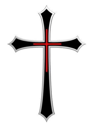 Christian cross isolated on white. Computer generated 3D photo rendering. Stock Photo
