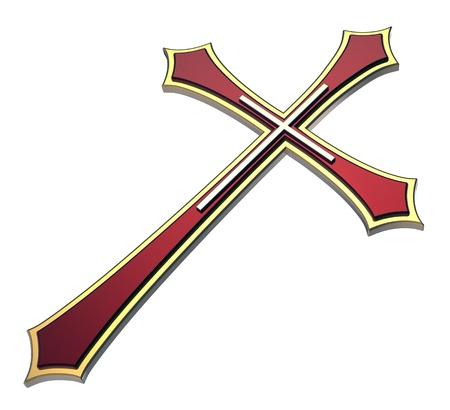 cruz roja: Cruz cristiana aislada en blanco. Procesamiento de fotos 3D generados por ordenador.