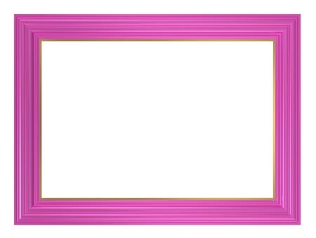 Rosa Rahmen isoliert auf weißem Hintergrund. Computer generierte 3D-Foto-Rendering.