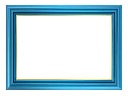 decorative frame: Blue frame isolated on white background. Computer generated 3D photo rendering.