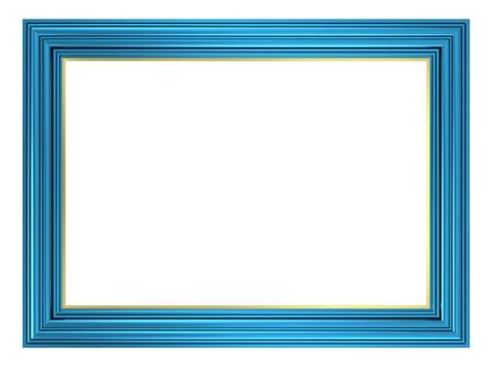 marcos decorados: Marco azul sobre fondo blanco. Generado por ordenador 3D foto renderizado. Foto de archivo