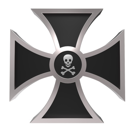 skull with crossbones: Choppers cross isolated on white. Computer generated 3D photo rendering.