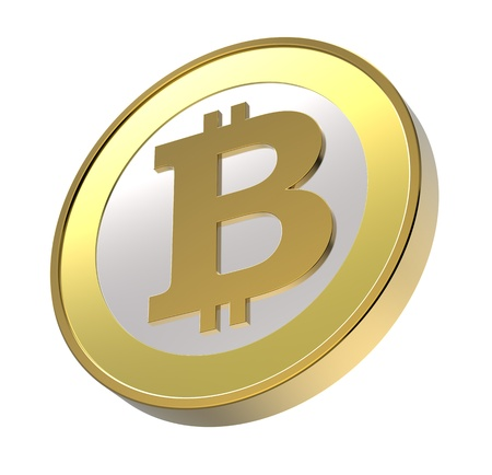 Bitcoin isolated on white. Computer generated 3D photo rendering photo