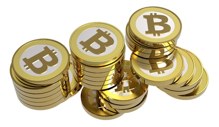 e cash: Stack of bitcoins isolated on white. Computer generated 3D photo rendering