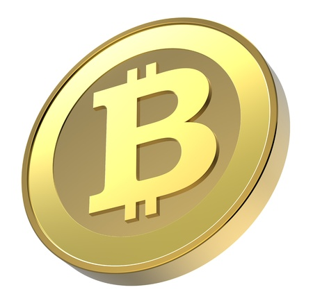 Bitcoin isolated on white. Computer generated 3D photo rendering Stock Photo