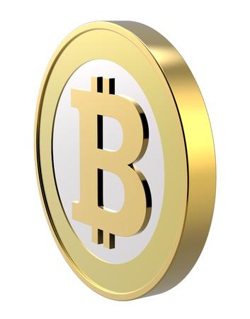 Bitcoin isoliert auf weiß. Computer generierte 3D-Foto-Rendering Lizenzfreie Bilder