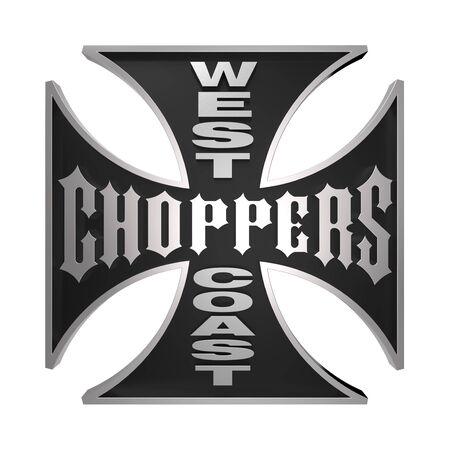 Choppers cross, isoliert auf weiss. Computergenerierte 3D Foto Rendering.