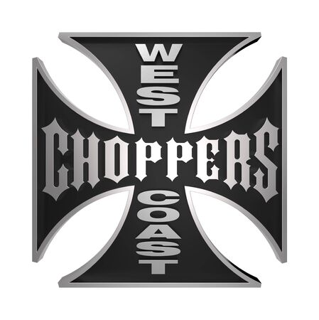 iron cross emblem: Choppers cross isolated on white. Computer generated 3D photo rendering.