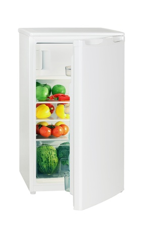 One door refrigerator isolated on white photo