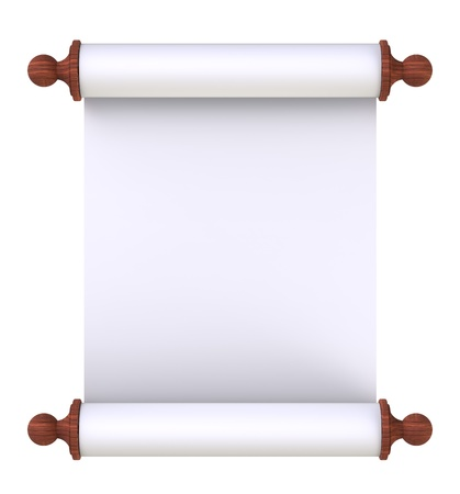 writ: Scroll paper with wooden handles over white