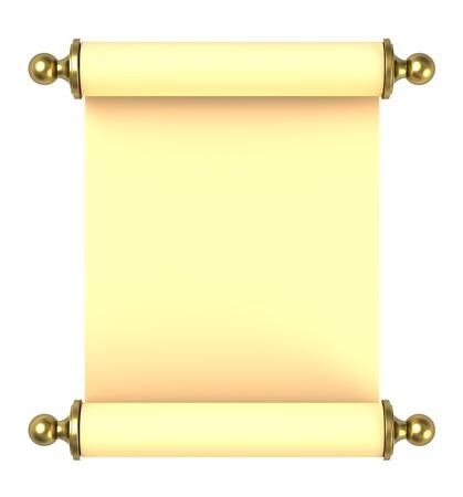 Blättern Sie Papier mit goldenen Griff weiß