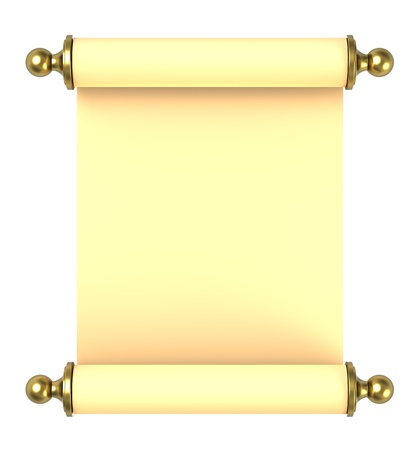 Scroll paper with golden handles over white