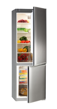 fridge: Two door INOX refrigerator isolated on white
