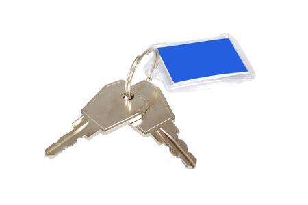 Key ring with two keys isolated over white background photo
