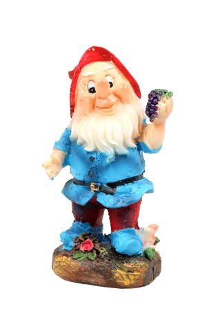 lawn gnome: Dwarf - garden gnome figurine isolated over white