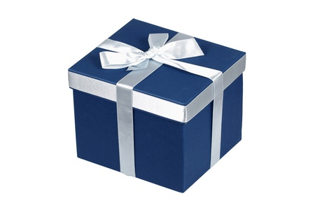 Blue gift box with silver ribbon over white Stock Photo - 11425489