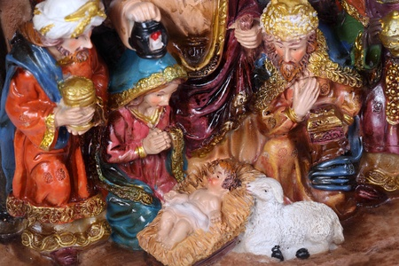 gaspard: Christmas Crib. Nativity scene with the holy family and Jesus in the manger.