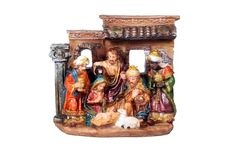 three objects: Christmas Crib. Nativity scene with the holy family and Jesus in the manger.