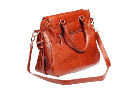 Leather handbag isolated over white with clipping path. Stock Photo