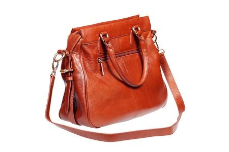 Leder-Handtasche in weiß mit beschneidungspfad isoliert. Lizenzfreie Bilder