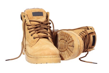 steel toe boots: Hiking boots isolated over white