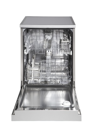 Modern freestanding dishwasher isolated on white photo